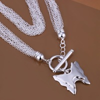 Lost Money Promotion Free Shipping Silver Pendant Necklace.Wholesale High Quality.Fashion Tassel Butterfly Necklace.TN543