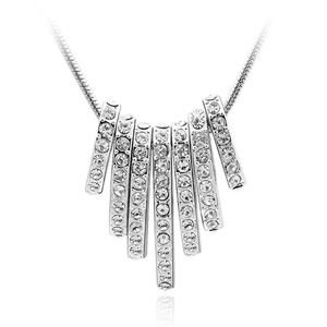 Free Shipping~Factory Platinum Plated Swarovki element crystal necklace,hot sell seven wheel shape CZ rhinestone necklace(China (Mainland))