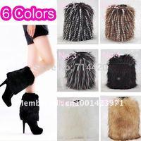 20cm Lady Warm Faux  Rabbit Fur  Leg  Fluffy Shoes Cover