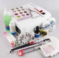 Beginners UV Gel Nail Kit  19 in 1 Nail Art Care Set 36w Curing Lamp For Salon Nail Beauty With Free Gift Decoration 369