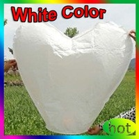 Free shipping 100 pcs/lot White Heart shape Chinese Sky Wish Lantern Ballons  Flying Wishing Lamp ,SL046