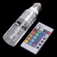4pcs/lot 3W Crystal LED Light Bulb RGB 16 Colors with Remote Control E27 screw base 100-240V AC RoHS CE