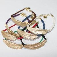 Wholesale 30Pcs/lot  Feather Charm Handmadke Bracelet Lovers hand catenary