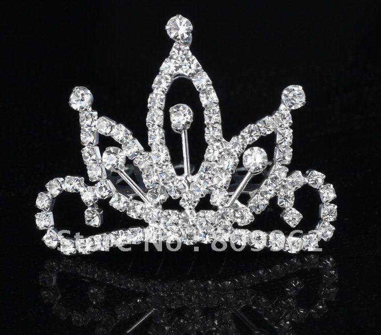Free Shipping 6 pcs/lots Crystal children's tiara crown rhinestone Mini comb hair clip tiara Princess crown headwear hot sale(China (Mainland))