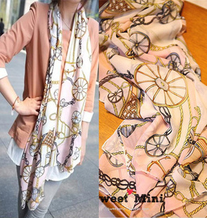 Beach silk scarf summer sun cape marine wind chain carriage silk scarf powder Skeleton  halloween