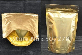 12*18cm Gold Metallic Aluminum Ziplock Stand up Foil Zip lock Bag