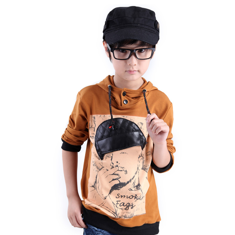 Children's clothing 2012 autumn male child baby cotton fashion smoke with a hood sweatshirt child(China (Mainland))