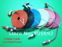 6 Pin 3 Meter Colorful Noodles USB Charger Cable&Data Cable For iPad 2 New iPad3 iPhone 4G 4S 3G iPod