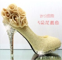 New 2014 Women Pumps Bride Women's Shoes High Heels Gold/Red Big Flower Wedding Shoes Platform Pumps Sapato