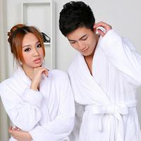 49 coral fleece robe lovers bathrobe autumn and winter white sleepwear lengthen plus size bathrobe