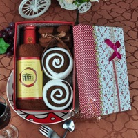 Birthday christmas supplies cake towel red wine gift box