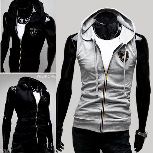 autumn mens  cotton vest slim clothes  with hooded  fashion lamborghini knitted  vest coat  ... accept paypal