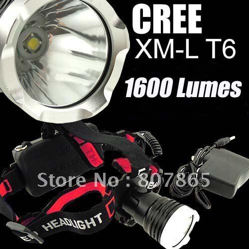 LED T6 P7 1600 LUMENS 8, 4V-SILVER 1600-Lumens-CREE-XM-L-XML-T6-LED-Headlamp-Headlight-SET-Power-By-2-x-18650battery