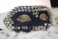 Free Shippimg 10 pcs Fashion Personality Black Lace Rivet Mask Mardi Gras Masquerade Halloween Costume Party MASKS