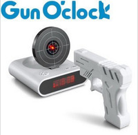 Free Shipping Gun Target Shooting alarm clock Novelty Clock Good Gift and Bedroom Infrared Creative LED Display Clock,