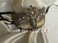 Free Shippimg 10 pcs Retro Half Face Crackle Mask Silver Gray Mardi Gras Masquerade Halloween Venice Costume Party MASKS