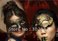 Free Shippimg 10 pcs Golden Floral Design Half Face Cloth Mask Mardi Gras Costume Masquerade Halloween Party MASKS