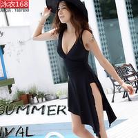 2014 New Arrival Tops Fashion Women's sexy plus size plus size swimwear female one-piece dress hot spring fork swimwear