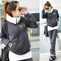 Женские толстовки и Кофты Xmas Sale 2012 Winter Womens Sport Wear Casual Fleeces Thickening Sweatshirts+Trousers Lady's Tracksuits VD2316