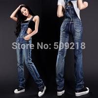 Free shipping fashion slim suspenders denim jeans women's small slim straight pants