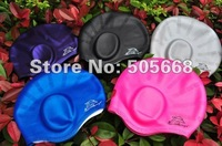 5 pecs Swimming Caps Silicone Swim Cap Silica gel Swim cap long hair and ear protection swim cap waterproof