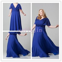 Classic chiffon sexy v neck floor length vintage mother of the bride dresses