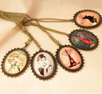 Sunshine jewelry store vintage lady crystal necklace X181 (min order $10 mixed order)