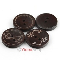 Wholesale - New style  240pcs  Mixed  Two Holes Wooden Buttons Coffee 20mm Fit Clothes Accessories  111546