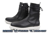 Fashion high men's boots 2012 after the bandage side zipper high cowhide men's the trend of casual boots black
