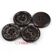 Wholesale - Free ship 240pcs Hot Mixed Coffee Flower Desgin four Holes Wooden Buttons 20mm Fit Clothes Accessories 111550