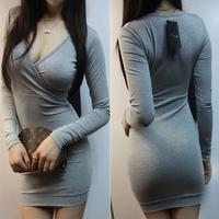 Free shipping 2012 autumn women's long-sleeve V-neck slim sexy slim hip one-piece dress elegant miniskirt