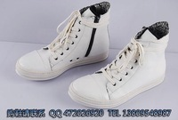 Fashion fashion casual trend high-top shoes side zipper boots cowhide popular high men's white