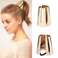 Fashion vintage fashion metal headdress hair rope rubber band hair accessory cone shape golden