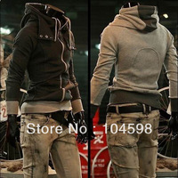 Free shipping!2012 autumn mens korean style hoodies color block decoration slim male hooded sweatshirt for men,w024CN