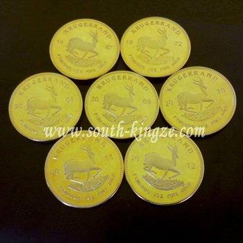 Cobre con chapado en oro Krugerrand de la moneda . 5PCS / LOT 1OZ MULTA chapado en oro de la moneda Fría.