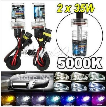 2X H11 5000K 35W HID Xenon Kit Super Vision Car Head Light Lamp Bulb Replacement