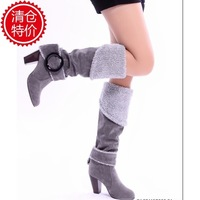 Free shipping new arrival fashion  wool buckle sexy high-leg boots wholesale drop ship women's shoes gray black blue brown X1295