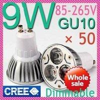 50pcs/lot High Power Dimmable GU10 3x3W 9W LED Light Lamp Bulb Led Downlight Led Light Led Bulb 85-265V