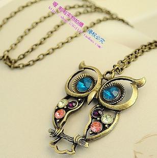 Sunshine jewelry store fashion colorful rhinestone studded owl necklace x152 ( $10 free shipping )