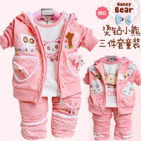 2012 New Toddler's Autumn 3PCS Set Outerwear+T-shirt+Pants, Hot pink Girls' Clothing Kids Clothes baby suits