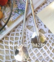 50PCS TL0032 free shipping stainless steel triangular spoon straw for sipping fun