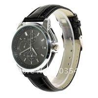 Sample 2012 Newest Exquisite Waterproof watch Quartz Watch Leather Wristband Watches men wrist watch B8127 Black,white