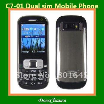 C7-01 Dual sim  camera matel case fashlight loud sound cell phone