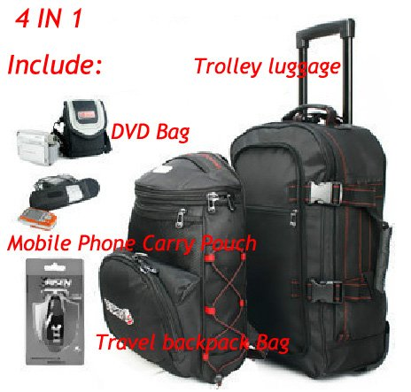 FREE SHIPPING 4in1 Combination Travel bag trolley luggage 20 backpack commercial trolley backpack(China (Mainland))