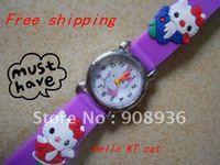 Fashion Watches purple Hello KT cat 3D freeshipping  Wholesale! 10pcs/lot Children watch cartoons Quartz
