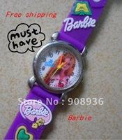 Fashion Watches purple Princess girl 3D freeshipping  Wholesale! 10pcs/lot Children watch cartoons Quartz