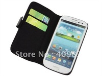 Hot sale free shipping fine grain leather wallet case for galaxy s3 I9300