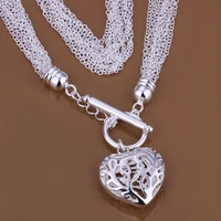 Promotion Free Shipping Silver Pendant Necklace.Wholesale High Quality.Fashion Tassel Hollow Heart Necklace.TN563