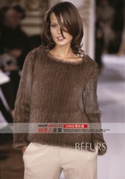 CX-G-A-17B Mink Fur Knitted Pull-over Jacket ~BLACK / BROWN ~ DROP SHIPPING