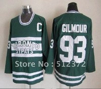Free Shipping!!! Hockey jersey #93 Doug Gilmour throwback green jersey